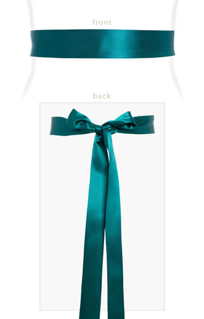 Smooth Satin Sash Slim Dark Teal by Tiffany Rose