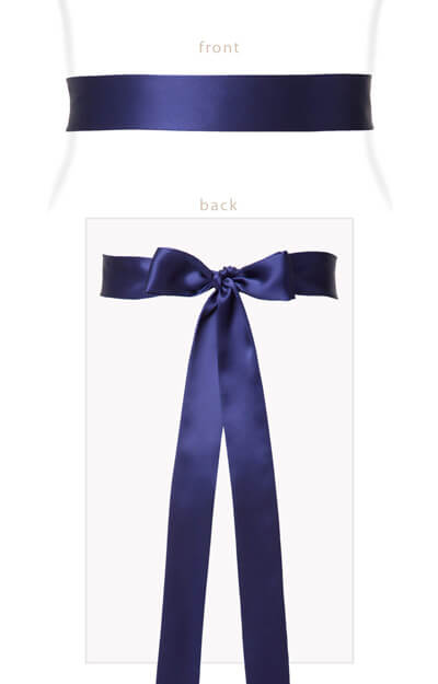 Silk Satin Sash Slim Indigo Blue by Tiffany Rose
