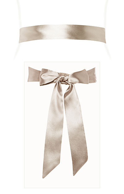 Smooth Satin Sash Slim Oyster by Tiffany Rose