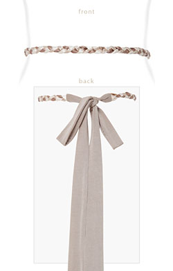 Plaited Ribbon Sash Gold