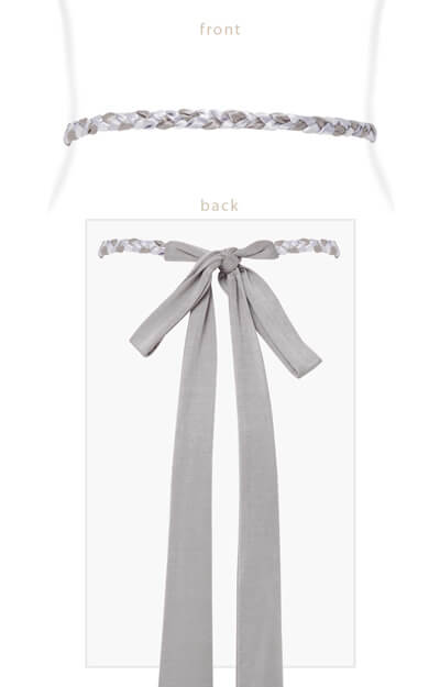 Plaited Ribbon Sash (Silver) by Tiffany Rose