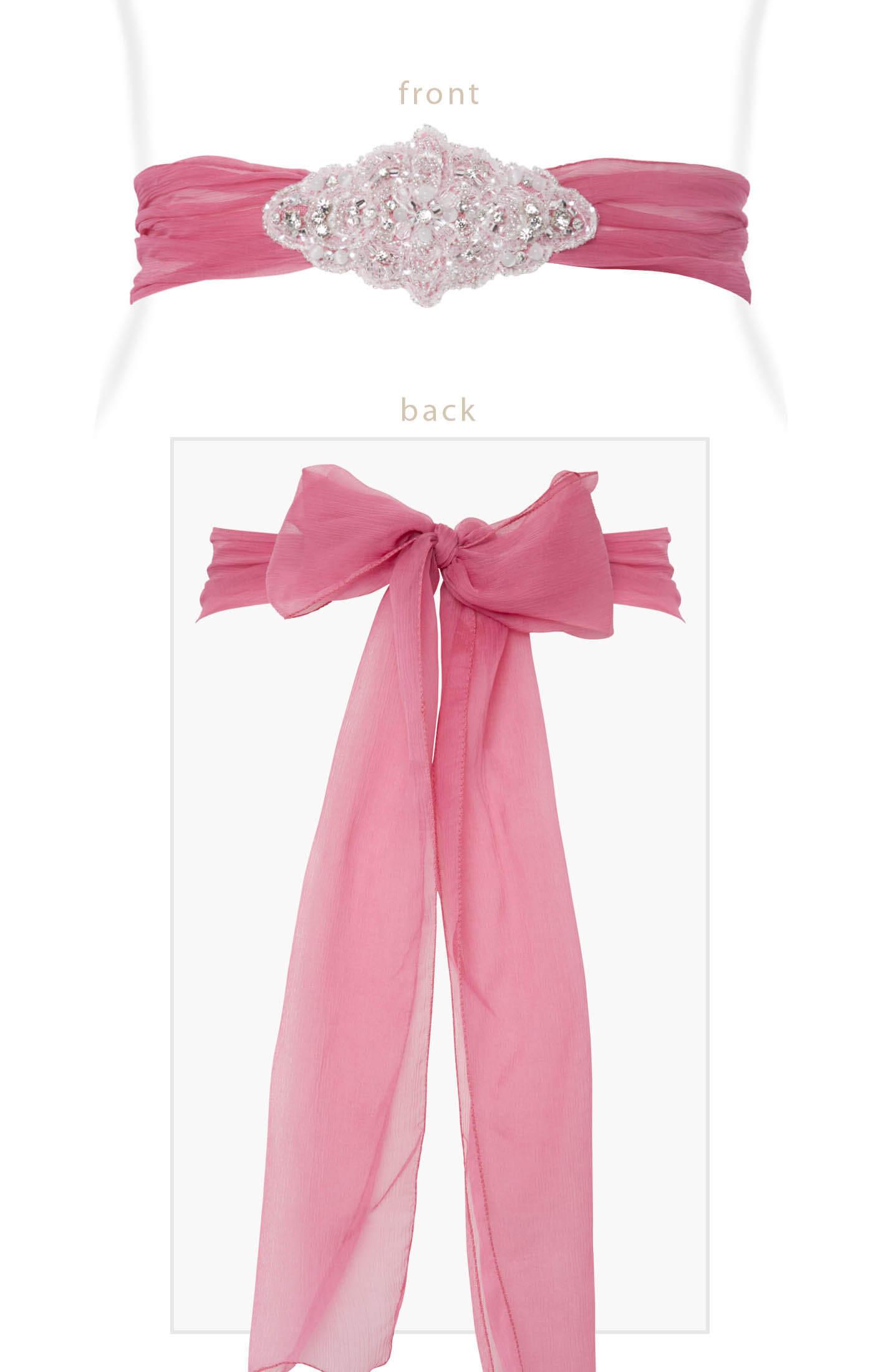 Pink Wedding Dress Sash : Silk crystal sash confetti pink maternity wedding