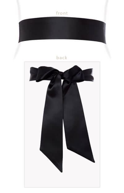 Smooth Satin Sash Black by Tiffany Rose