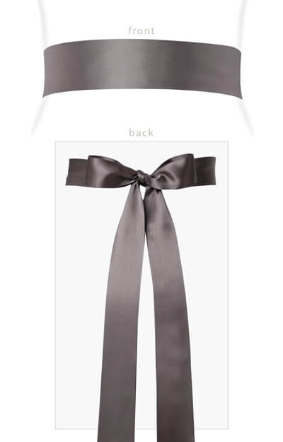 Smooth Satin Sash Long Charcoal by Tiffany Rose