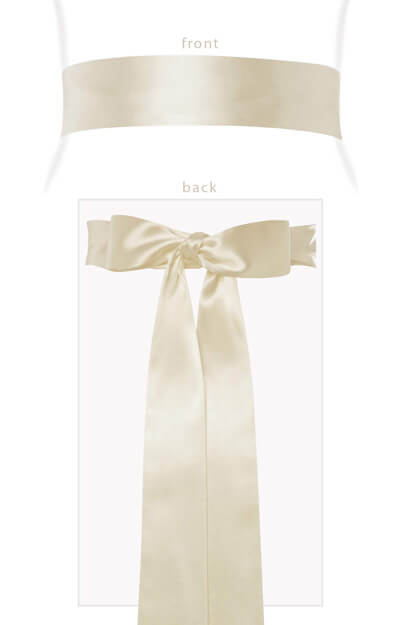 Smooth Satin Sash Long Cream by Tiffany Rose