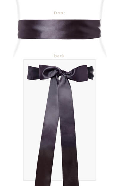 Smooth Satin Sash Long Graphite by Tiffany Rose