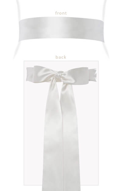 Smooth Satin Sash Long Ivory by Tiffany Rose