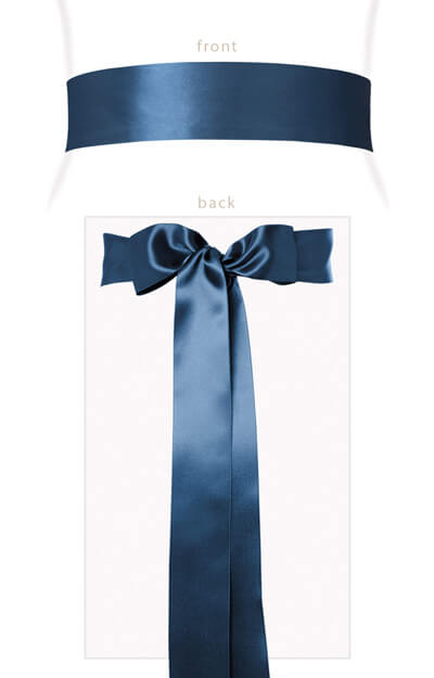 Smooth Satin Sash Long Lagoon Blue by Tiffany Rose