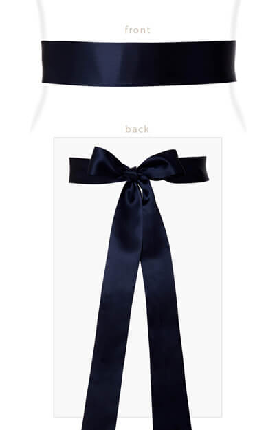 Smooth Satin Sash Long Midnight Blue by Tiffany Rose