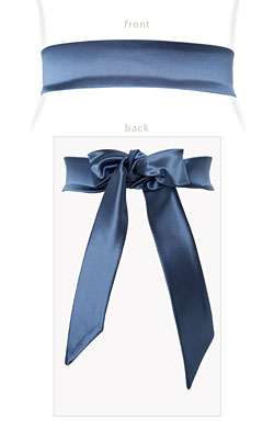 Stretch Satin Sash Slate Blue