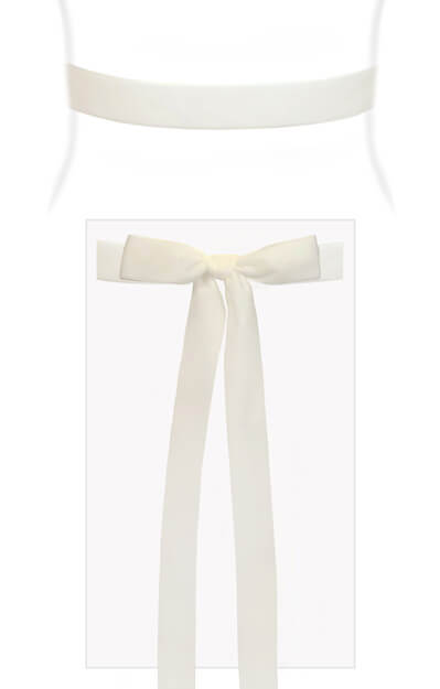 Velvet Ribbon Sash White by Tiffany Rose