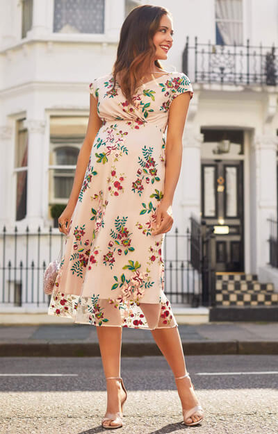 Bailey Maternity Midi Dress (Blushing Blooms) by Tiffany Rose