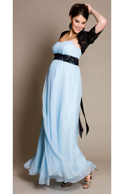 BlueBell Maternity Gown with Black Lace Sash by Tiffany Rose