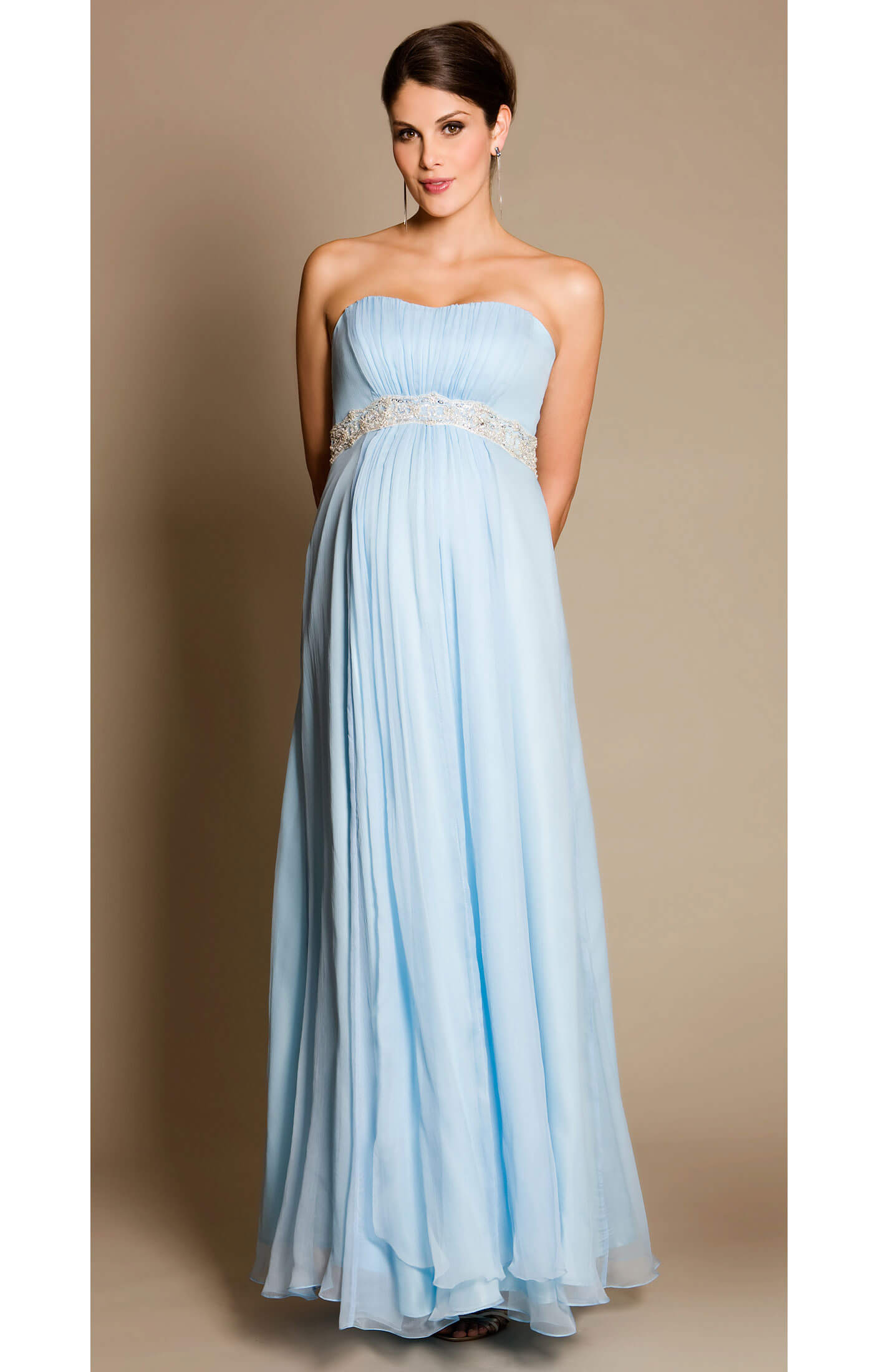 BlueBell Maternity Gown With Diamante Sash Maternity Wedding Dresses
