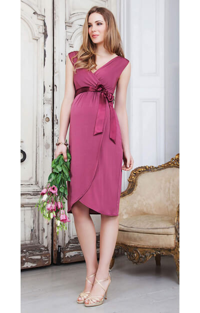 Bella Maternity Dress (Raspberry) by Tiffany Rose
