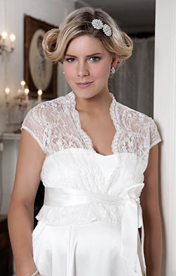 Beaded Lace Maternity Jacket (Vintage Ivory)