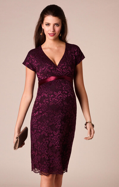 Bridget Maternity Lace Dress Claret by Tiffany Rose