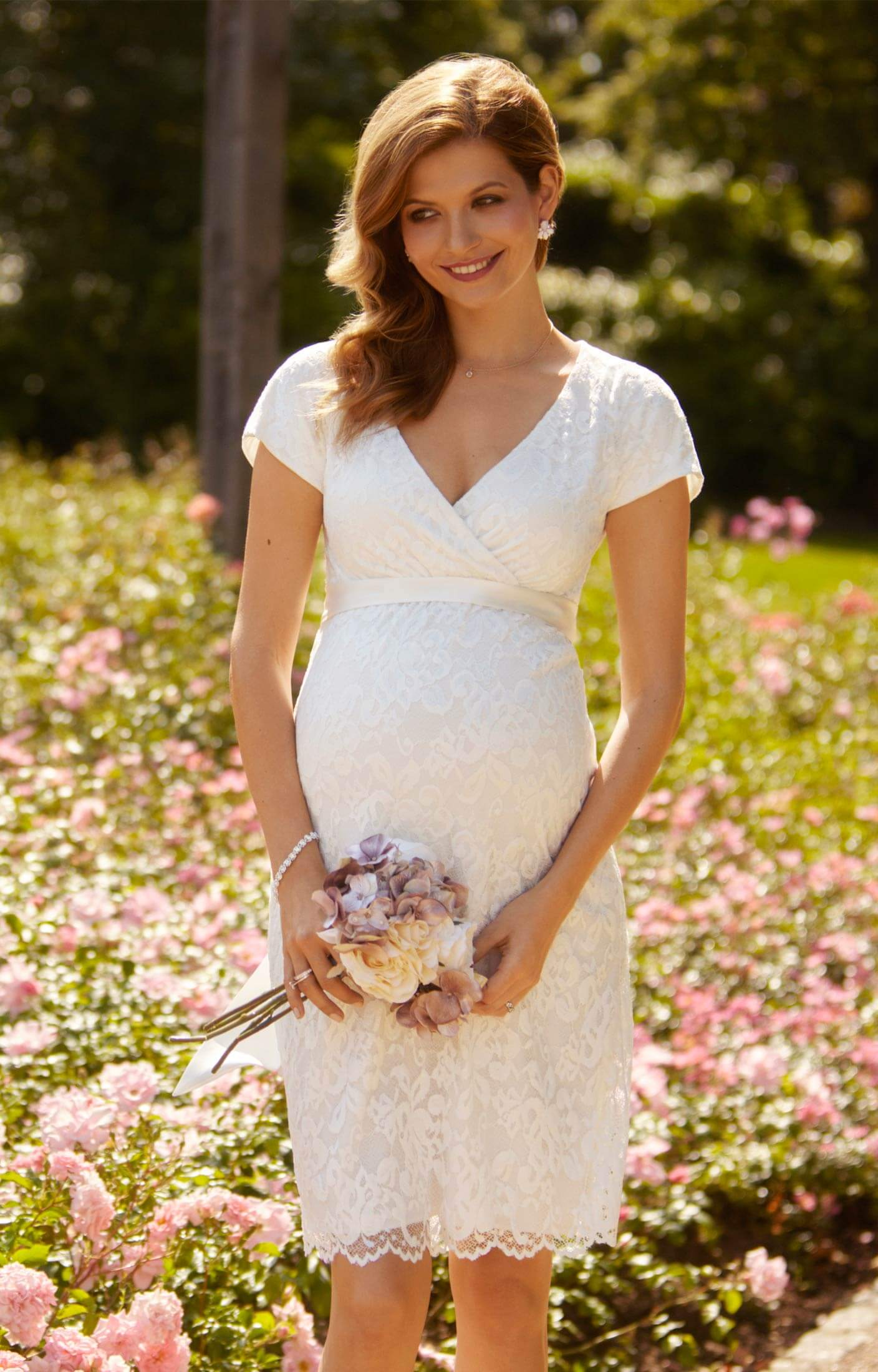 Bridget maternity lace dress ivory maternity wedding for Cute maternity dress for wedding