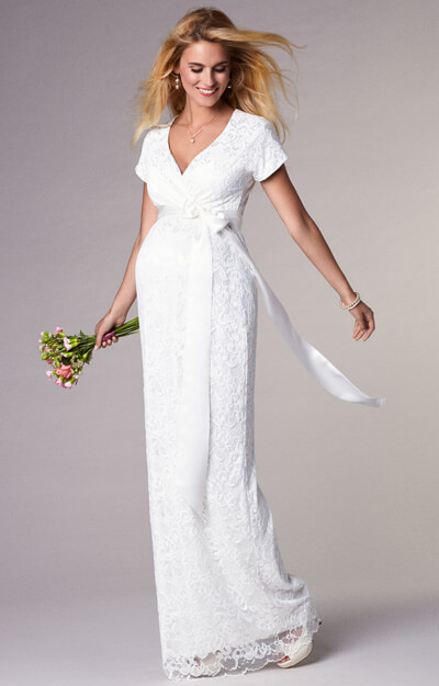 Bridget Maternity Wedding Gown Long Ivory by Tiffany Rose
