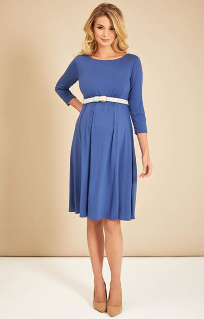 Cathy Maternity Dress Short Bijou Blue by Tiffany Rose