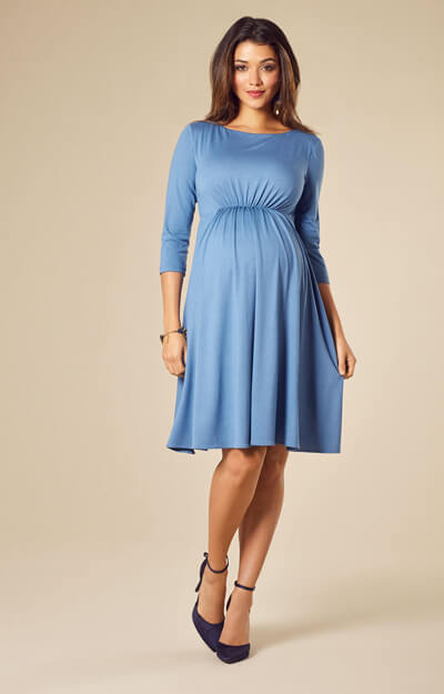 Cathy Maternity Dress Short Lagoon Blue by Tiffany Rose