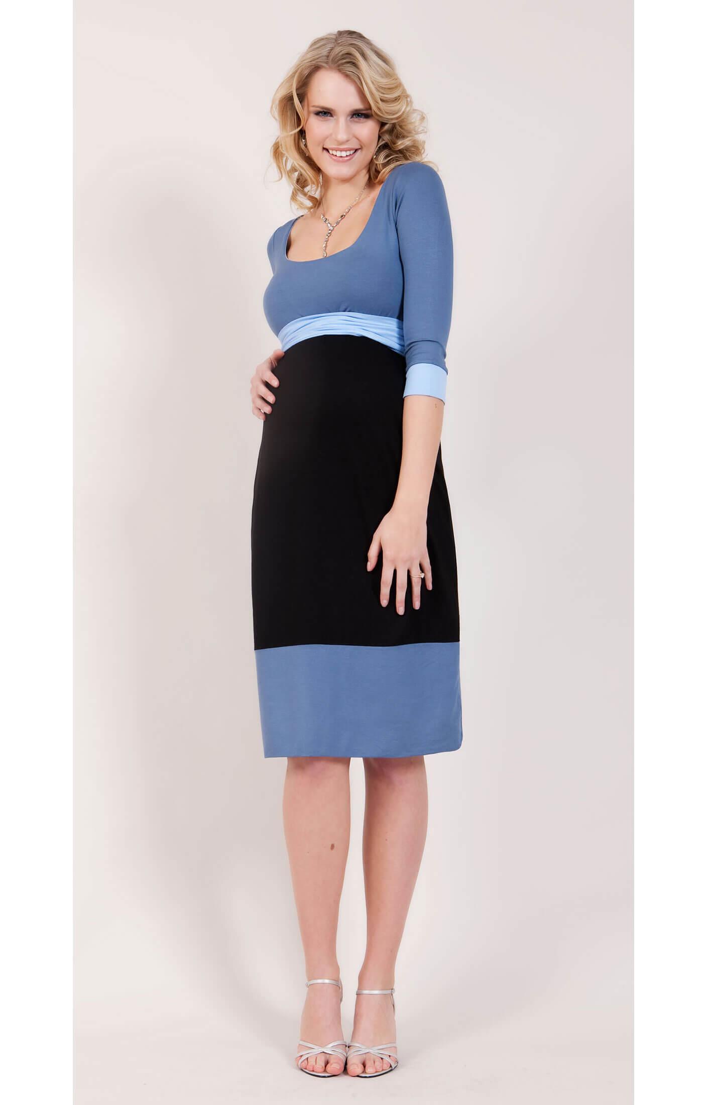 Colour block maternity dress blue by tiffany rose