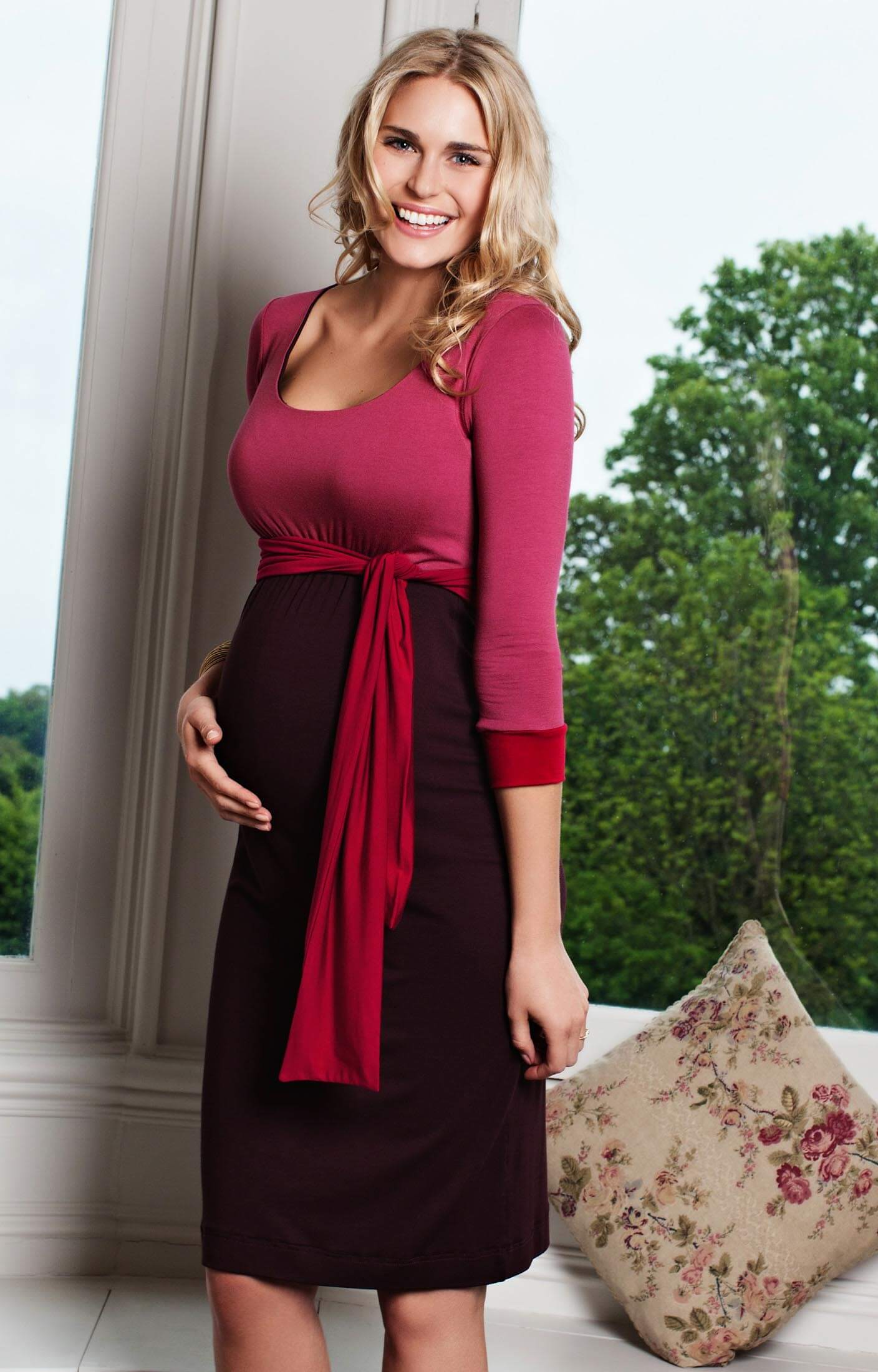Colour Block Maternity Dress Cherry Spice Maternity