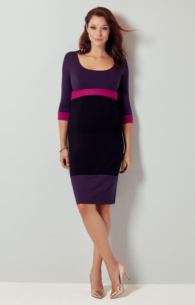 Colour Block Maternity Dress (Purple) by Tiffany Rose