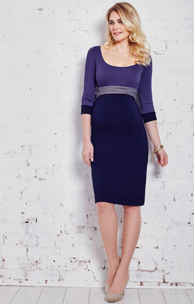 Colour Block Maternity Dress Wild Blueberry by Tiffany Rose