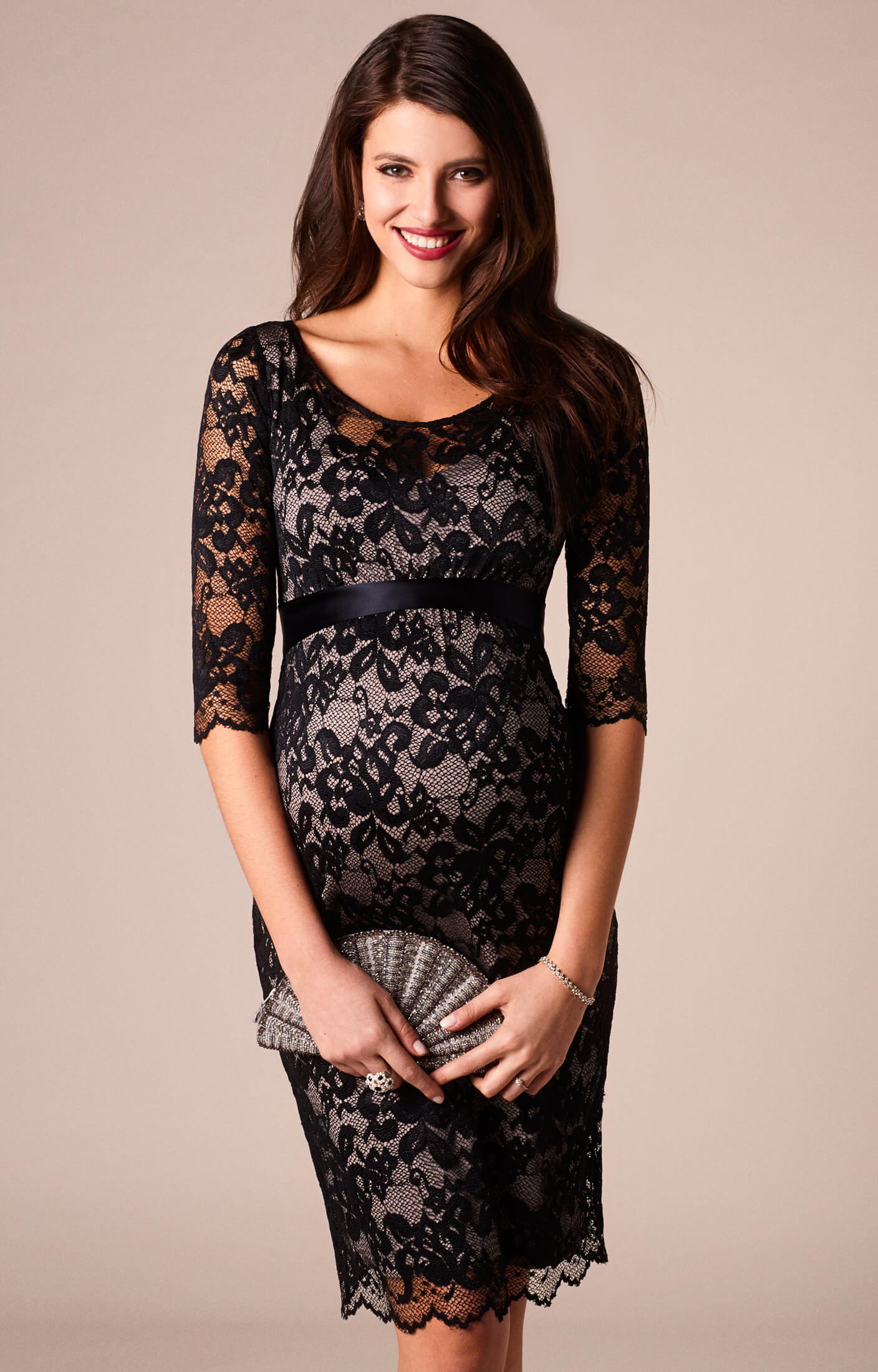 Charlotte Maternity Lace Dress Black Maternity Wedding