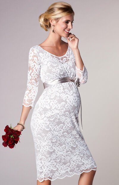 Charlotte Maternity Dress Oyster Cream by Tiffany Rose