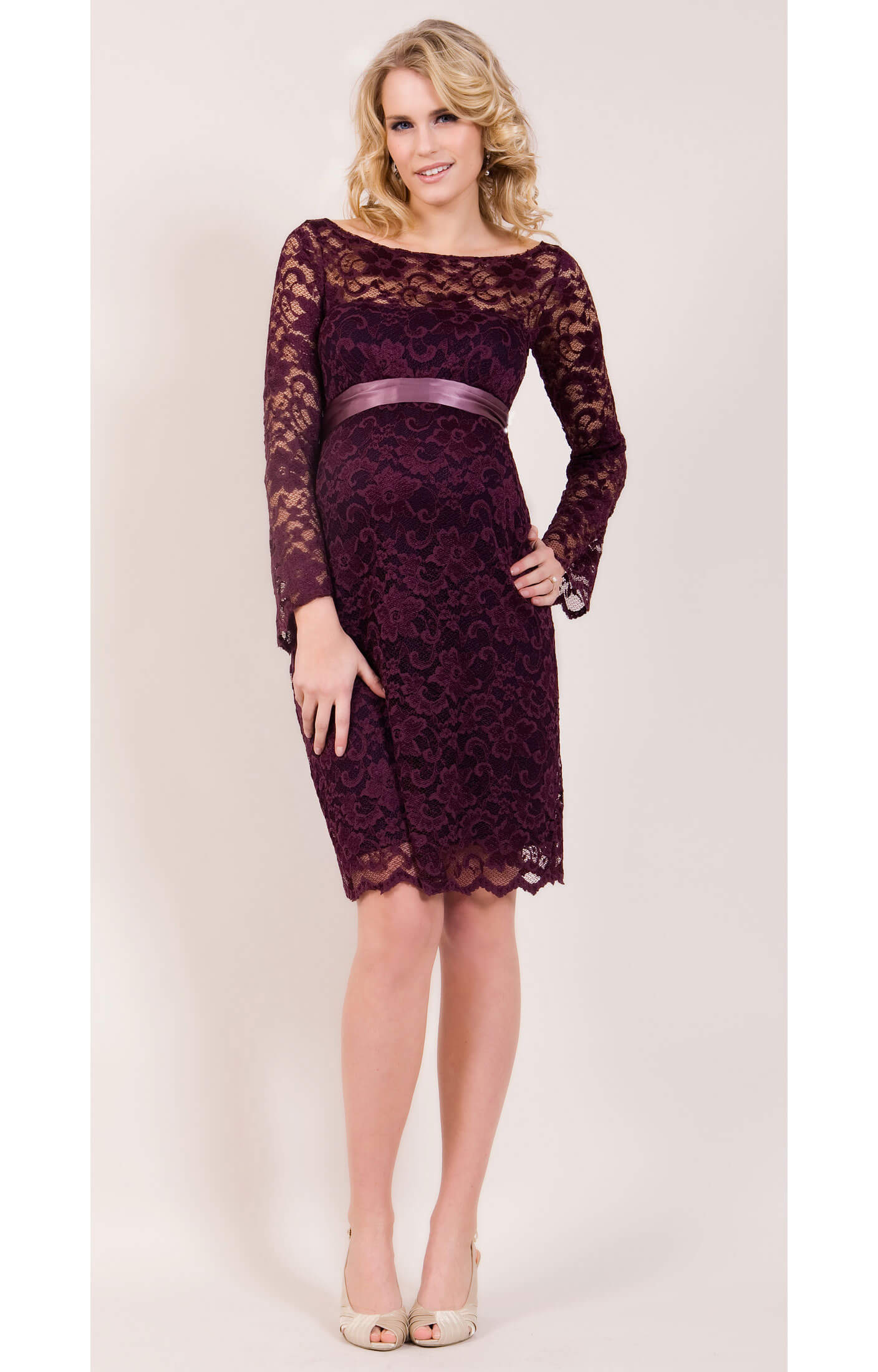 Chloe Lace Maternity Dress (Claret) By Tiffany Rose