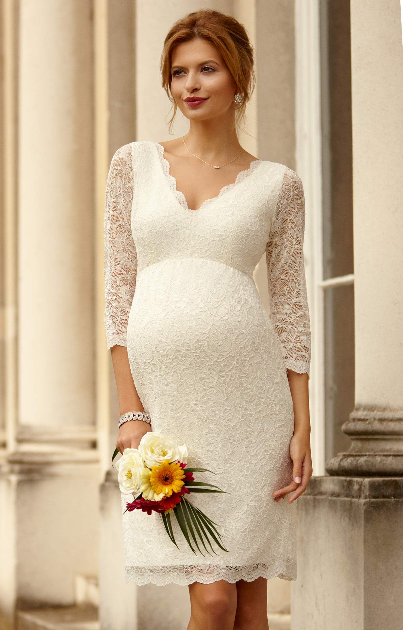 Chloe lace maternity wedding dress ivory maternity for Pregnancy dress for wedding