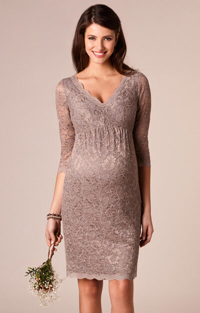 Chloe Maternity Lace Dress Mink by Tiffany Rose