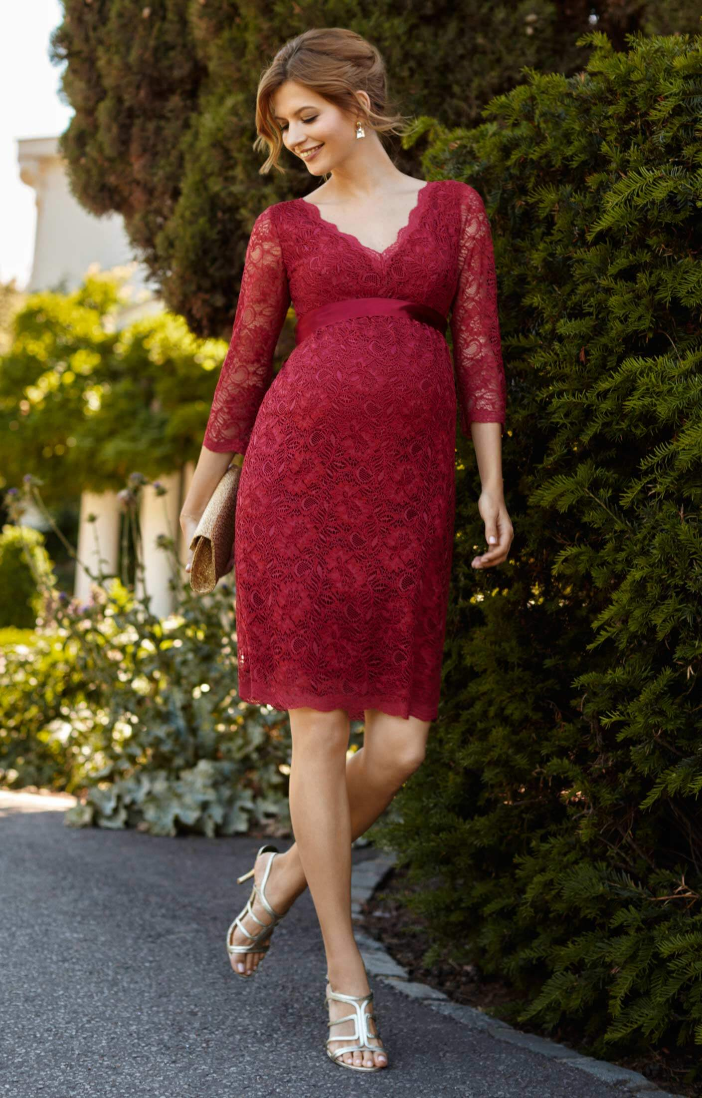 27b694006fa81 Chloe Lace Maternity Dress Scarlet - Maternity Wedding Dresses ...