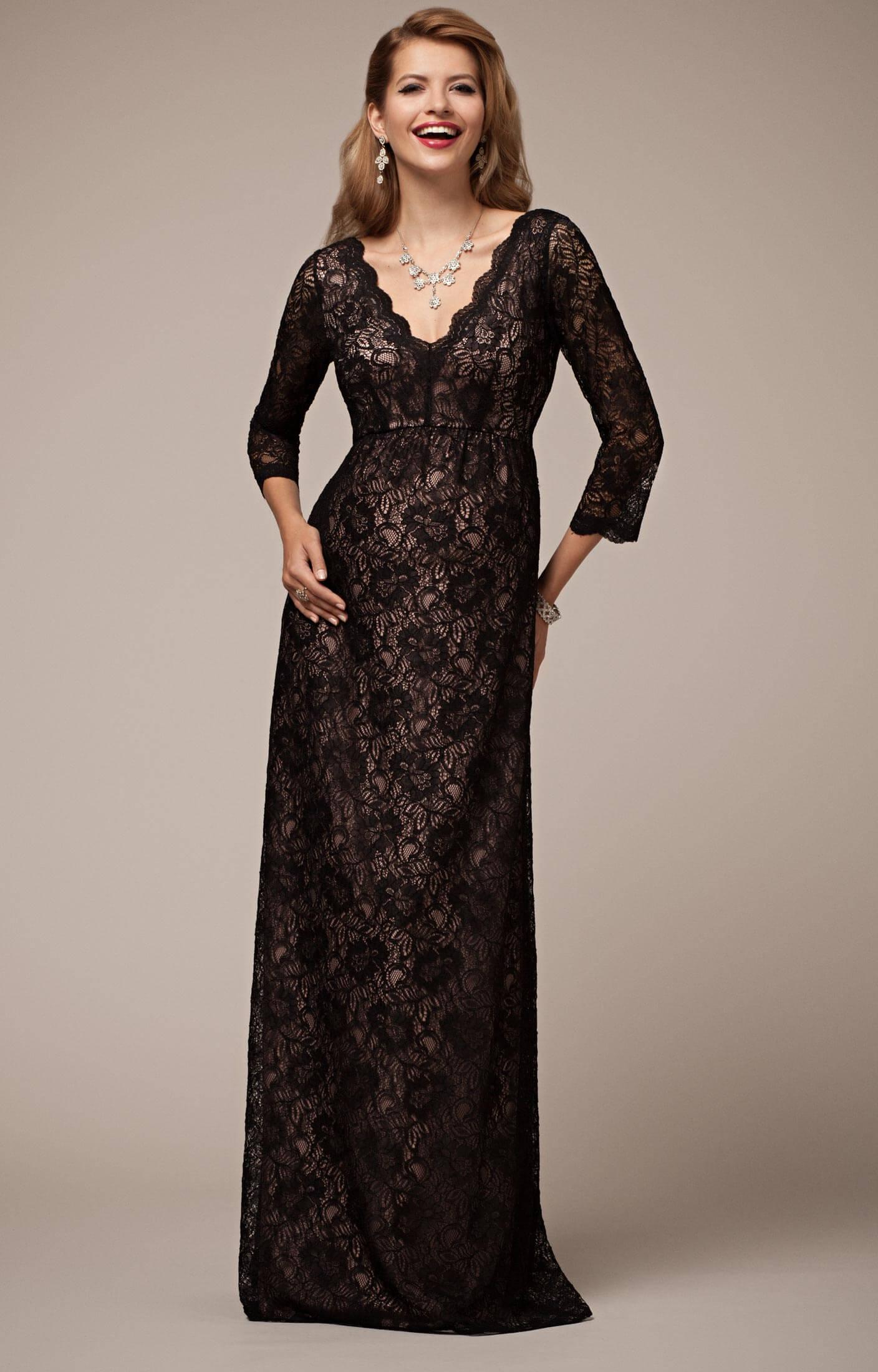 meilleur site web 439e0 ba8c9 Robe en Dentelle Chloé Longue Noir Poudré - Robes de maternité de mariée,  tenues de maternité de soirée et vêtements pour soirée de Tiffany Rose