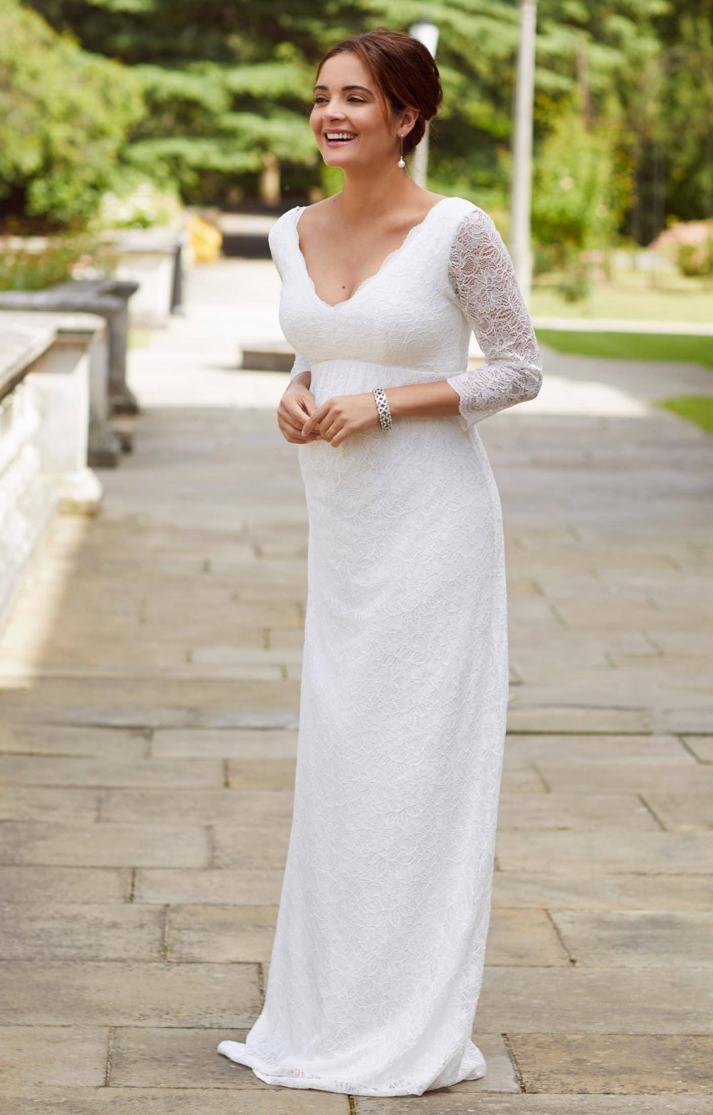 Chloe lace maternity wedding gown ivory maternity for Pregnancy dress for wedding