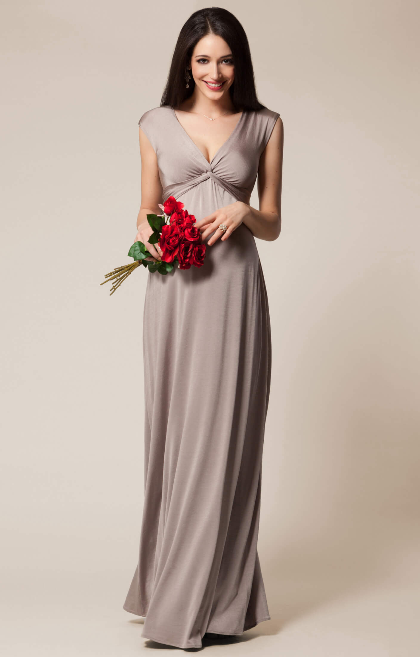 Clara Maternity Gown Long Mocha - Maternity Wedding Dresses, Evening ...