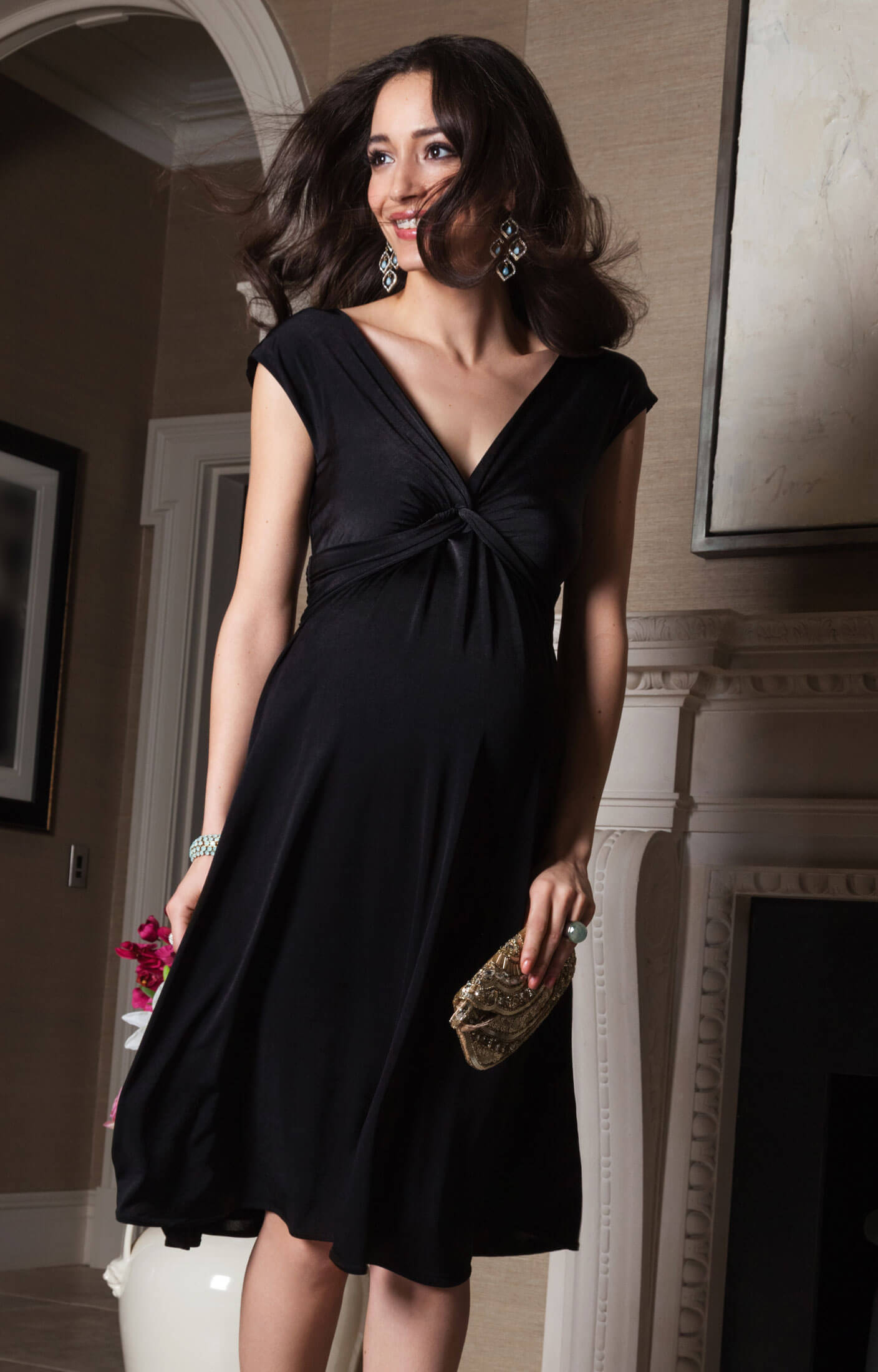 Clara Maternity Dress Short Black Maternity Wedding