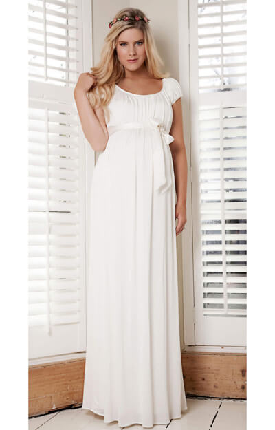 Claudia Maternity Gown Long (Ivory) by Tiffany Rose