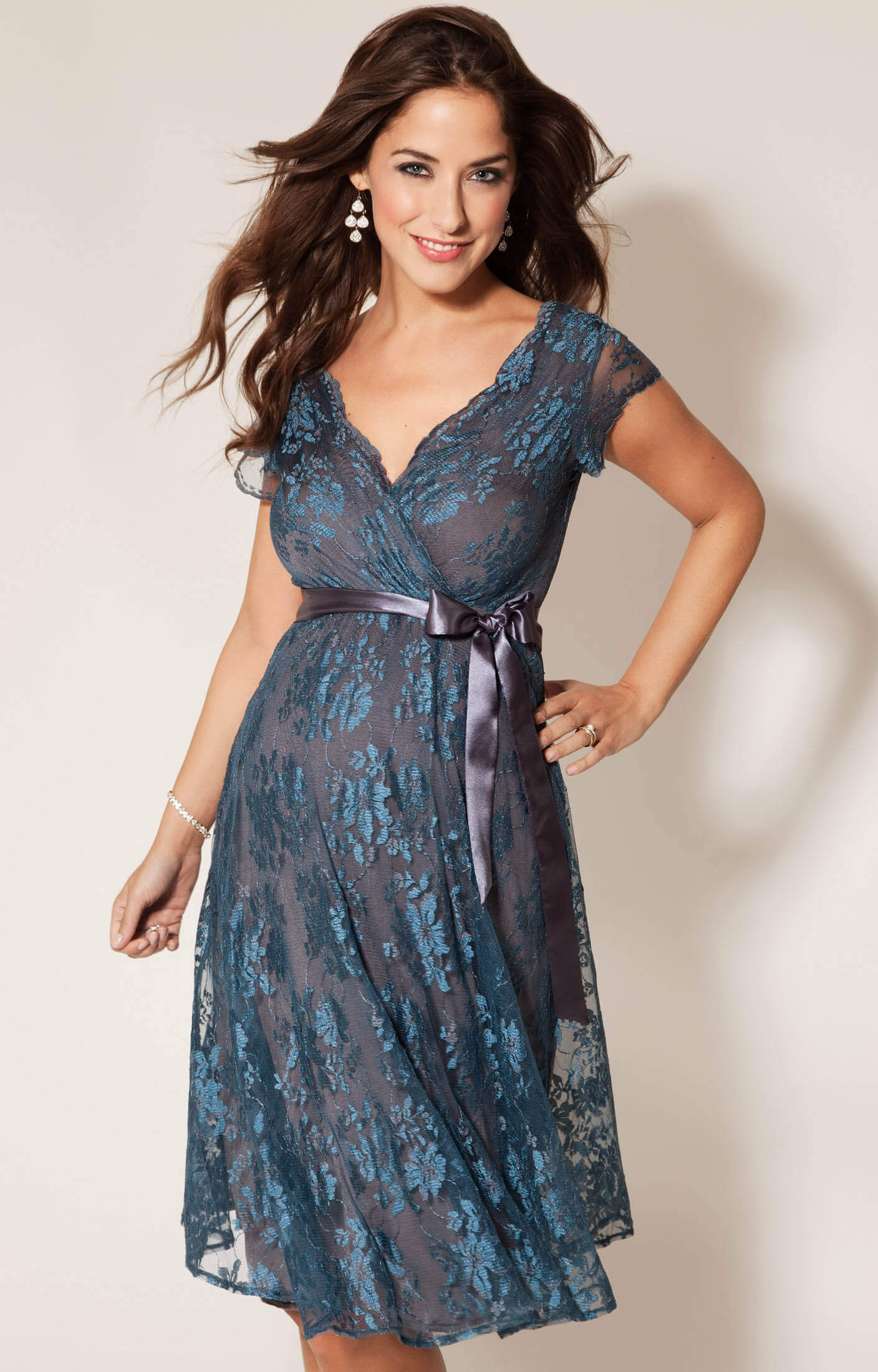 Eden maternity gown short caspian blue maternity for Wedding guest pregnancy dresses