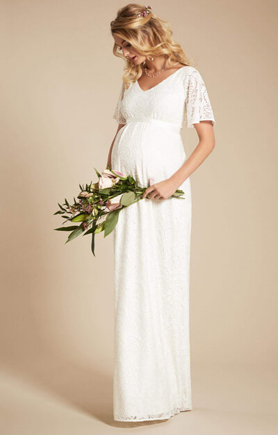Edith Kimono Maternity Wedding Gown Ivory by Tiffany Rose