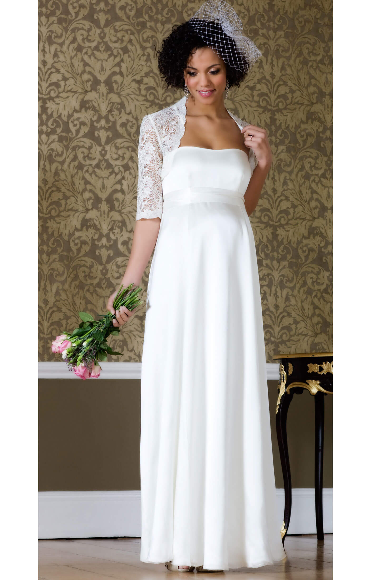 Ella maternity wedding gown long maternity wedding for Wedding guest pregnancy dresses