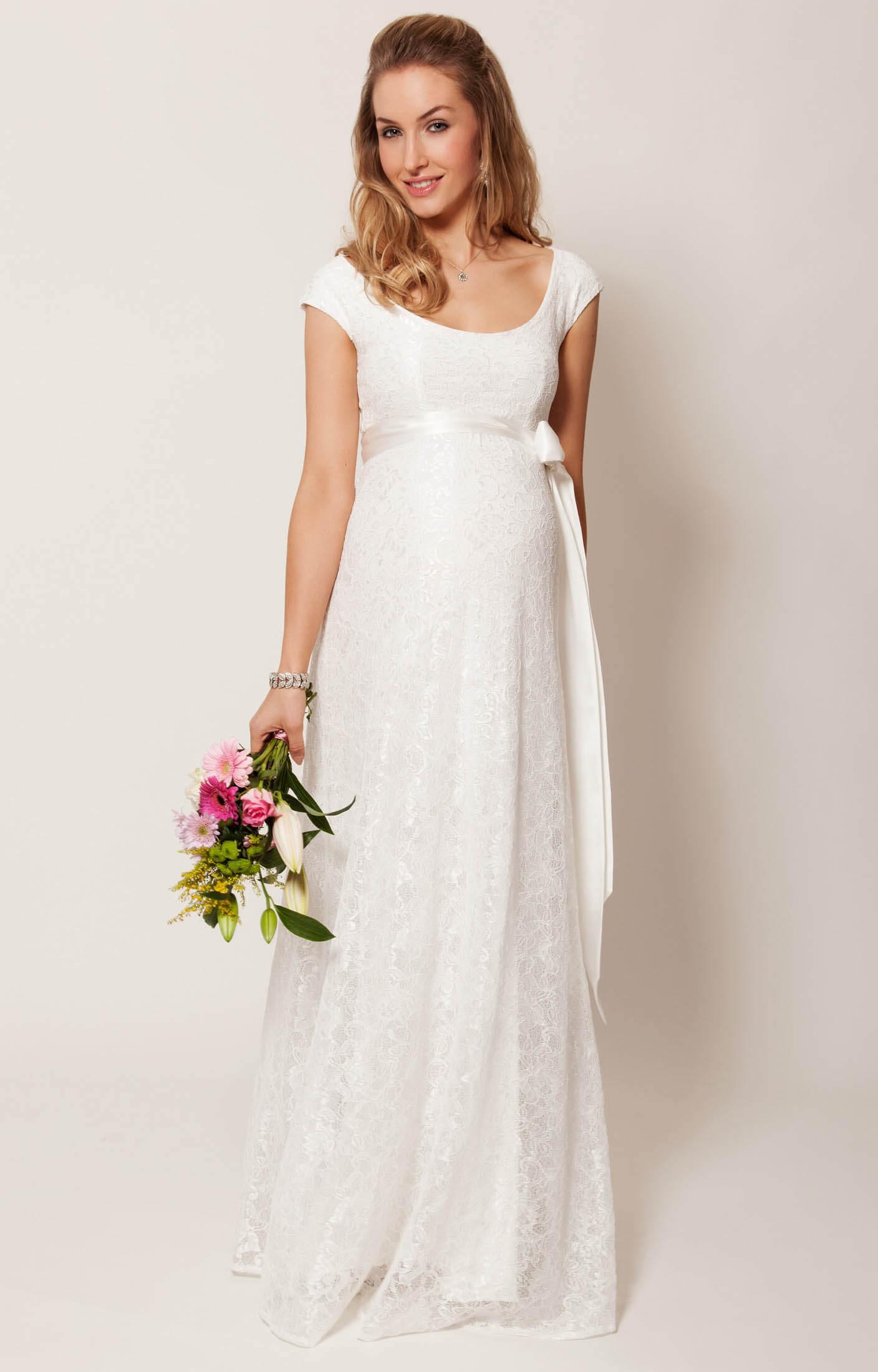 Eliza maternity wedding gown long ivory maternity for Ivory maternity wedding dresses