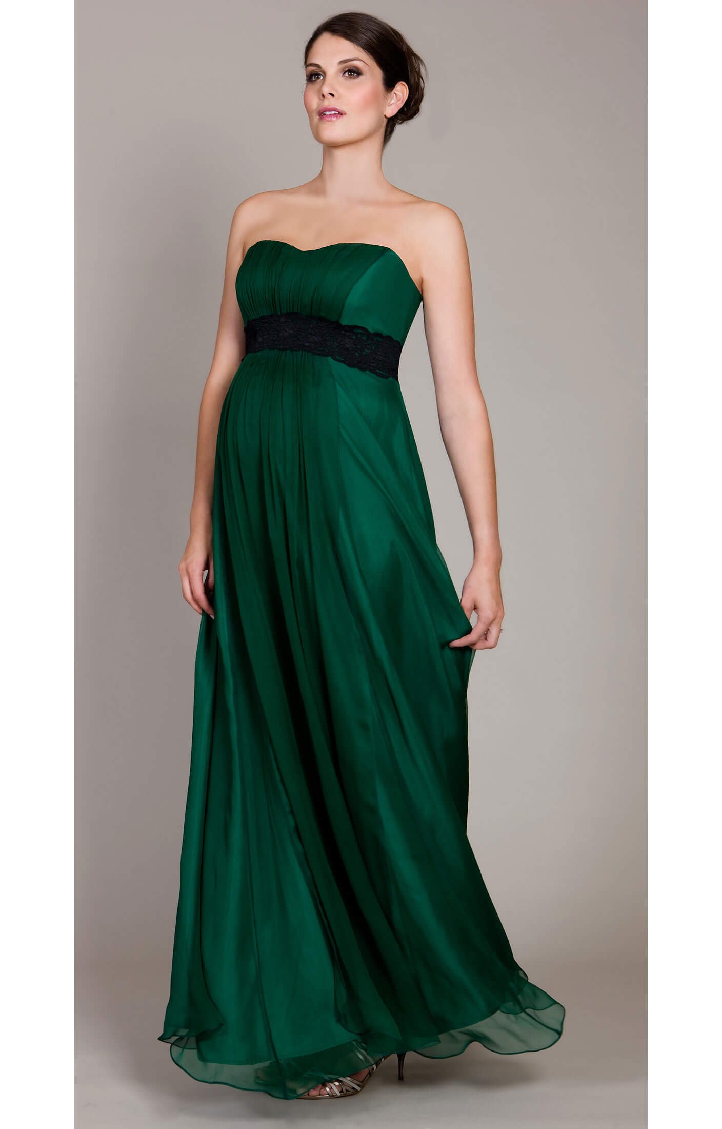 Emerald Maternity Gown with Black Lace Sash - Maternity Wedding ...