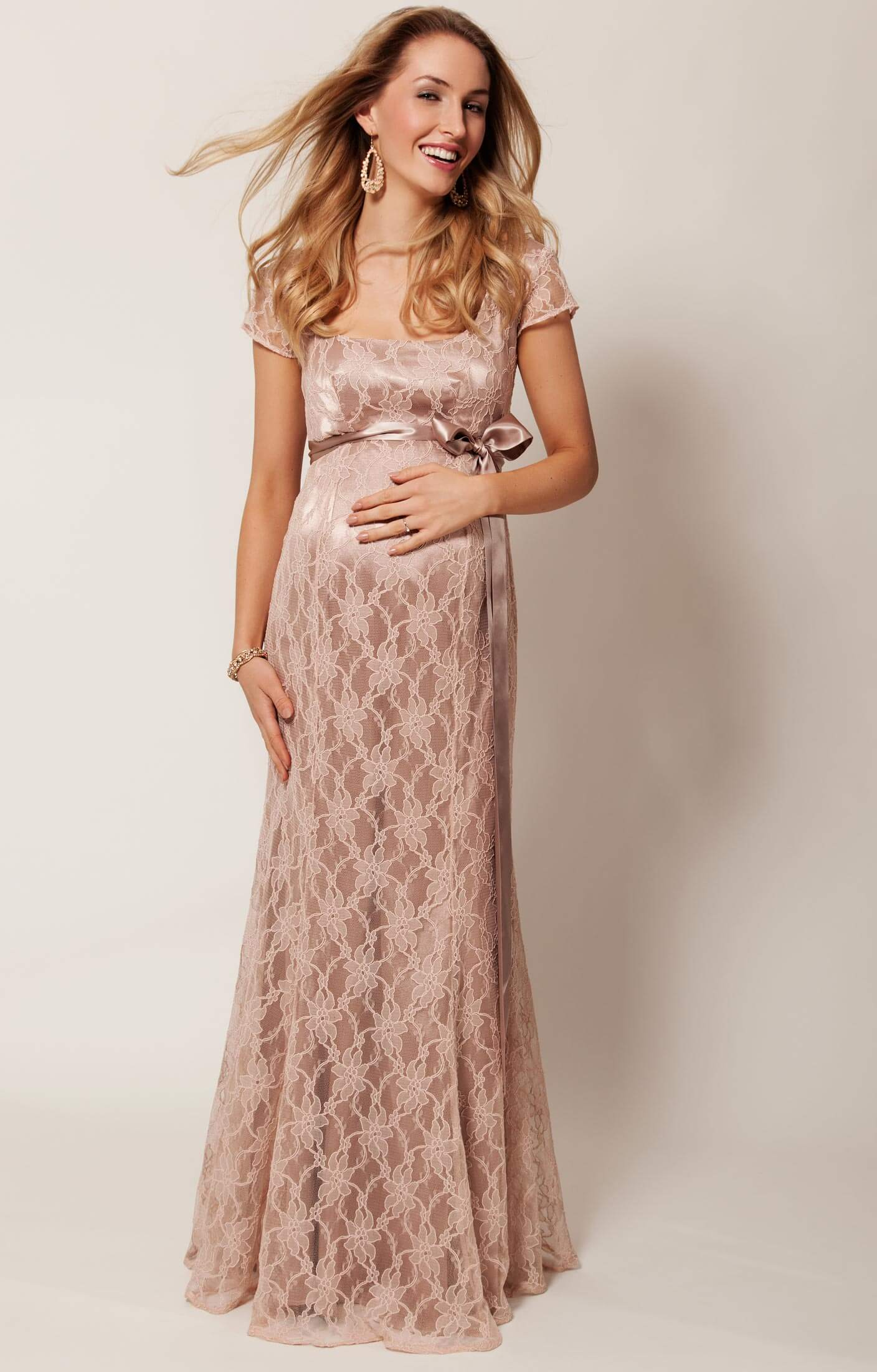 Eva Lace Maternity Gown (Antique Rose) - Maternity Wedding Dresses ...