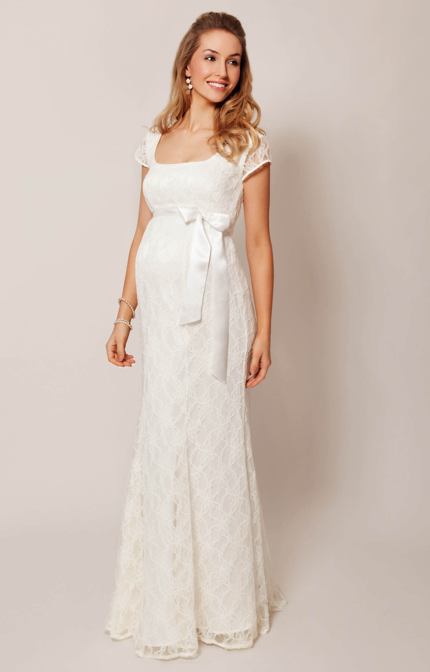 Eva Lace Maternity Wedding Gown (Cream) - Maternity Wedding Dresses ...