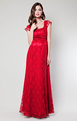 Eva Lace Maternity Gown (Scarlet)