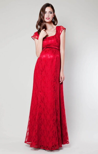 Eva Lace Maternity Gown (Scarlet) by Tiffany Rose