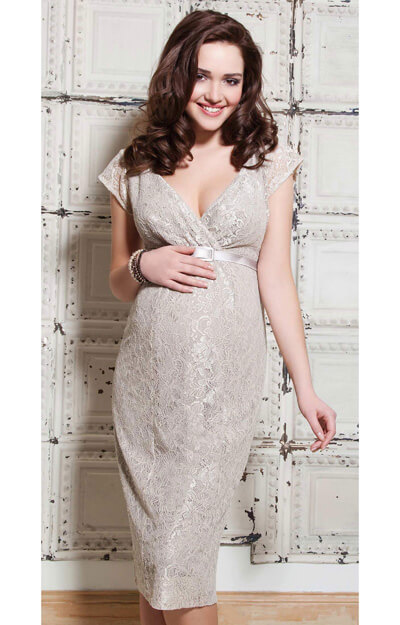 Evelyn Maternity Dress (Champagne Beige) by Tiffany Rose
